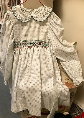 Vtg Polly's Stuff Polly Flinders Size 6 Girls Smocked Holiday Dress White W/grn