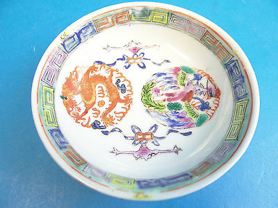 Signed Porcelain China Hand Painted Dragon Dinnerware Dish Bowl Kitchenware Used