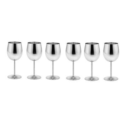 6pcs Stainless Steel Wine Glasses Goblets Cup Champagne Bar Party Banquet