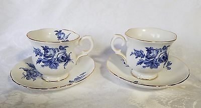 CROWN STAFFORDSHIRE Tea Cup Saucer (2) each Vtg Floral Scalloped Gold Trim China