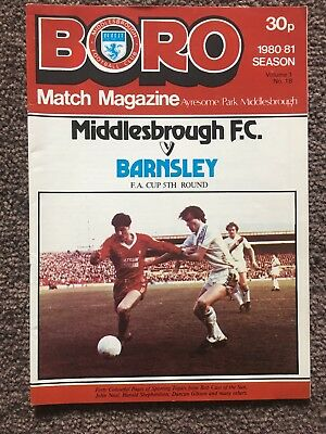 Middlesbrough v Barnsley FA Cup 1980-1981 football programme