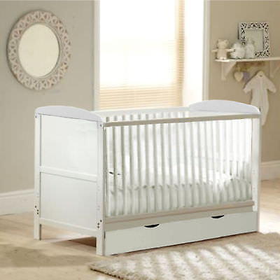 New 4Baby White Wood Classic Cotbed With Storage Drawer & Foam Mattress