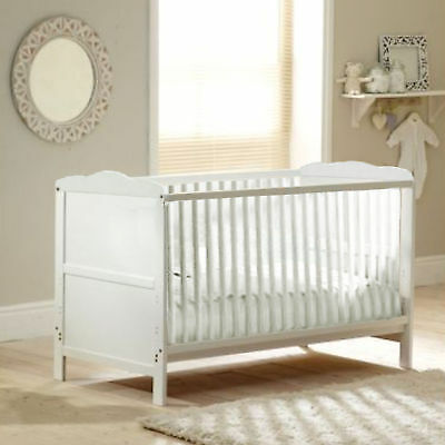 New 4Baby White Wood Classic Baby Cotbed With Sprung Mattress