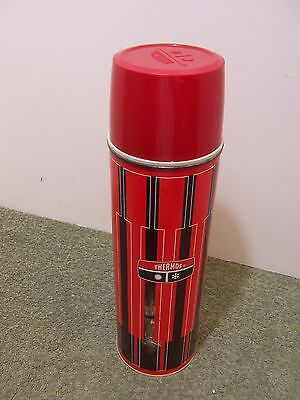 King Seeley Thermos Vintage Tall Red Black Piano Keys Rustic Bottle Hot Cold
