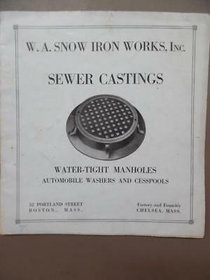 c.1915 W.A. Snow Iron Works Catalog Garage Castings Manhole Covers Sewer Antique