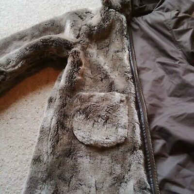 Lili Gaufretts girls reversible long coat with brown fur one side age 18 months