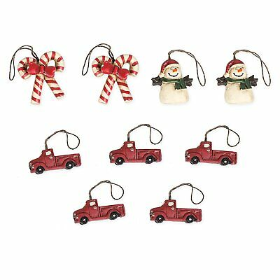 Set of 9 Primitive Christmas Ornaments, Red Trucks, Candy Canes, & Snowmen