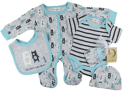 Baby Boys 5 Piece Layette Net Bag Gift Set - Hey There (Newborn - 6 Months)