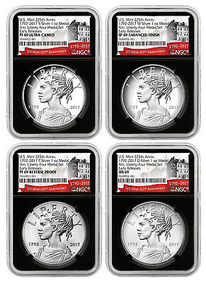 2017-D+P+S+W American Liberty 225th Anniv 4-Medal Set NGC 69's ER Black SKU49741