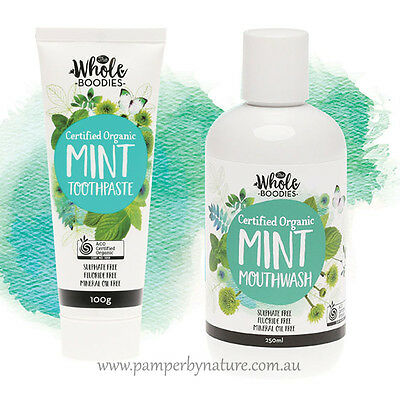 The Whole Boodies Certified Organic Mint Toothpaste 100g + Mint Mouthwash 250ml