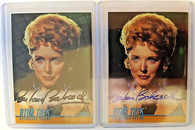 1999 Skybox Star Trek TOS LOT (2) Philana A74 Barbara Babcock Auto Black & Blue