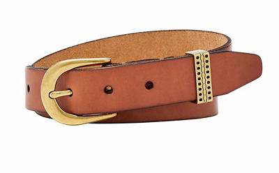 Fossil Emi Embossed Keeper Belt Genuine Leather Tan Brand New w Tags MSRP $38