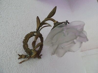 Antique French  Small Bronze Sconce With Petals White  Shade
