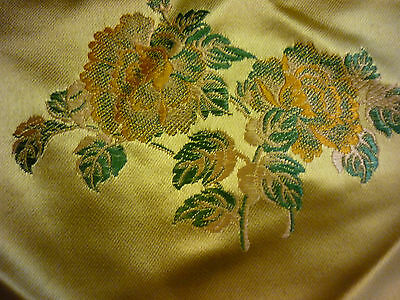 Vintage 1970's Fabric Gold Satin Remnant Scrap Floral