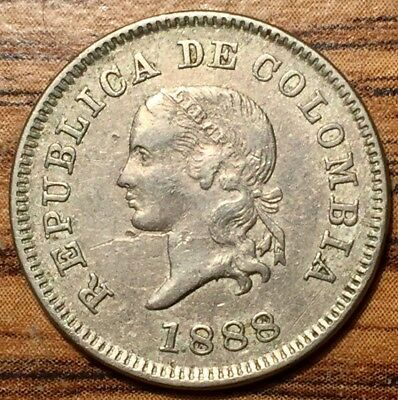 1888 Colombia 5 Centavos Lady Liberty Coin About Uncirculated Condition