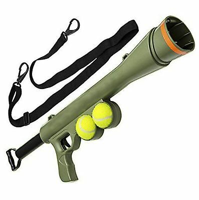 Tennis Ball Launcher Gun Rated Best Dog Toy Includes 2 Balls Sports Thrower Game