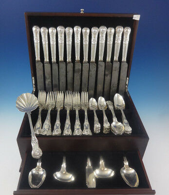 Kings English Sterling Silver Flatware Set for 12 Service 65 Pieces Dinner
