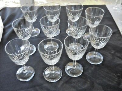 "Lot of 11 Luminarc Cristal D' Arques Diamant Crystal Wine Glasses 6 3/4"" Glass"