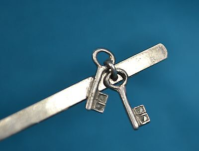 Vintage French Hallmarked Silver Pair Of Keys 21st Tie Money Hair Clip Slide