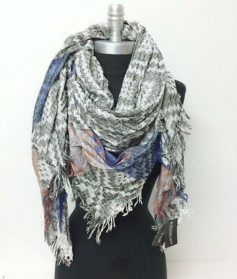 NEW effect diamond yarn Square Scarf w/ solid stripe Wrap shawl Reversible Men