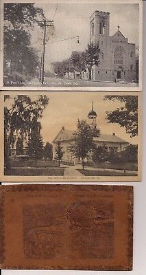 Lot of 3 Vintage Bethlehem PA Postcards Leather and B/W