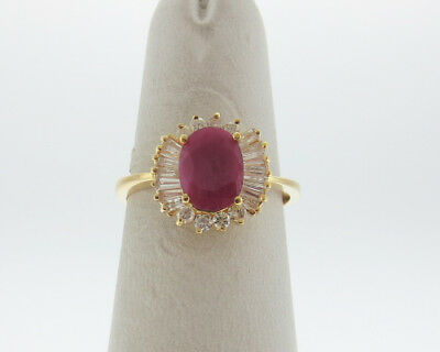 Estate 1-1/3 ct tw Natural Ruby Diamonds Solid 14k Yellow Gold Ring FREE Sizing