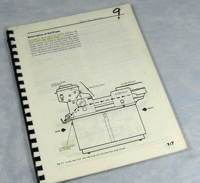 MULTI 1330 / 1360 Offset Duplicator Printing Press Operator Manual