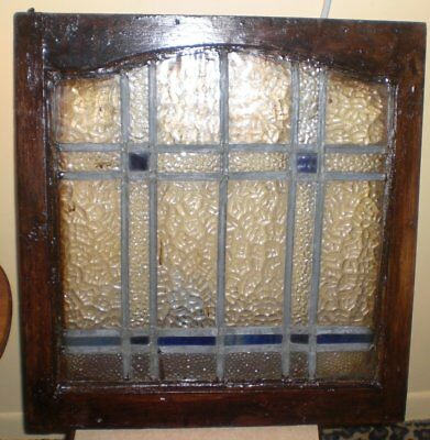 Vintage Leaded Ripple and Stained Glass Window in Wood Frame Shabby Chic 20 x 19