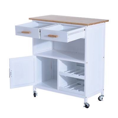 Good HOMCOM Wood MDF Kitchen Trolley Dining Cart Drawer Storage Rolling Wheels  White