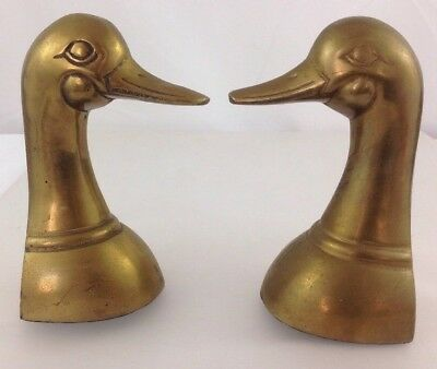 Pair of Vintage Brass Duck Head Bookends Patina Sand Filled Made in Korea