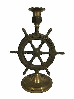 Antique Brass Ship Wheel Candle Holder Nautical Candlestick Rustic Home Decor