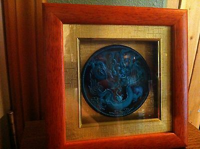 Beautiful High Relief Sculpted Turquoise? Asian Dragon  Plate In Shadowbox,nice!