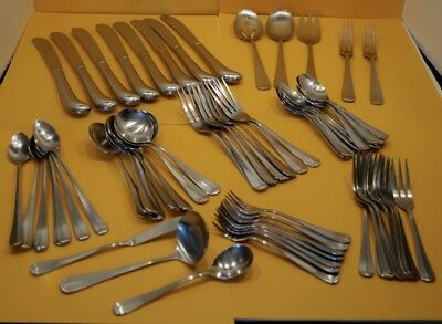 "Lot Of Vintage 64 Pcs. Rogers Stainless Korea ""jefferson Manor"" 3-Tine Flatware"