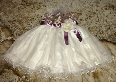 d0dce26f1 RARE EDITIONS Embroidered Mesh Floral Off White Mauve Dress Toddler Girls 2T