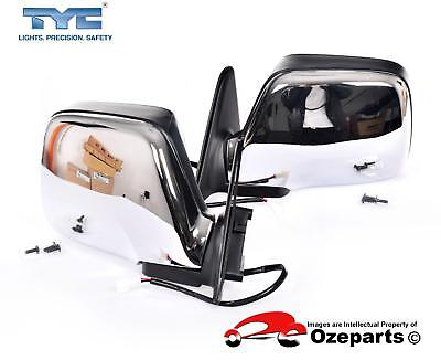 Pair LH+RH Electric Door Mirror For Toyota Landcruiser 80 Series 90~98 Chrome