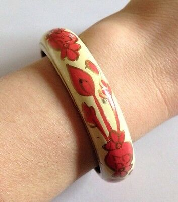Pretty Floral Vintage Look/Retro/Wooden Bangle/Kitsch/Pink/Cream/Yellow 70s