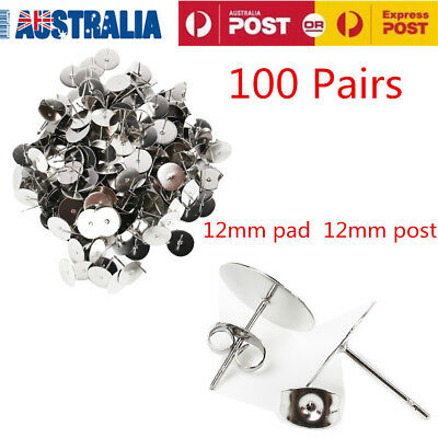 200PCS 12mm Surgical Steel Flatback Ear Stud Earring FindingsWith Backs Post