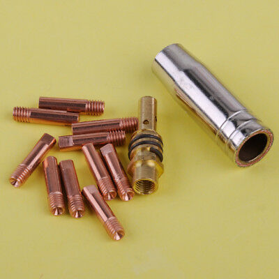 12pcs MB 15AK MIG/MAG Welding Torch Contact Tip 0.8 x 25mm M6 Gas Nozzle Shroud