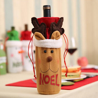 Christmas Wine Bottle Holder Gift Bags with Drawstring Xmas Decor Ornament