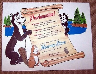 """HAMMS HAMM'S BEER BEAR ADVERTISING new CONDITION GIVE AWAY CERTIFICATE 11"""""""
