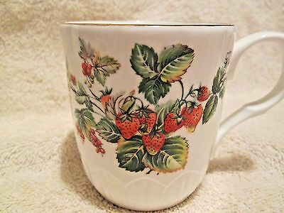 """Crown Trent Bone China Staffordshire England Strawberry Cup 3 1/4"""" tall AS IS"""