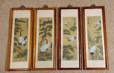 Set of four Chinese Silk Painted Portraits of Cranes - glass framed