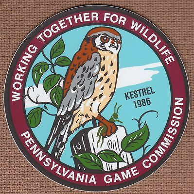 Decal Pa Pennsylvania Working Together For Wildlife 1986 Kestrel - Bob Sopchick