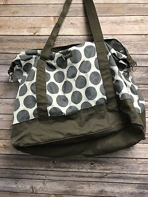 Thirty One 31 Large Weekender Tote Gray Dots Brown