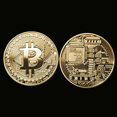 2 x Gold Plated Bitcoin Coin Collectible Gift BTC Coin Art Collection Physical#%