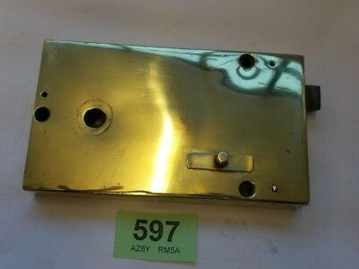 Antique Brass Georgian  Door Rim Lock reclaimed    597