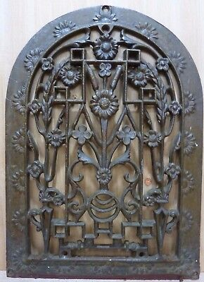 Antique Cast Iron TOMBSTONE FLOWERS Grate Vent ornate old architectural hardware