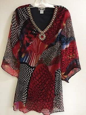 Ladies Printed Embellished Polyester Missy Size Tunic Top Blouse S-M-L-XL NWT.