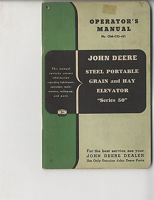 John Deere Steel Portable Grain & Hay Elevator 50 Operator's Manual Original