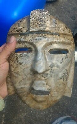 """7.5"""" Vintage Mexican Folk Art Mayan Marble brown Stone Hand Carved Wall Mask"""